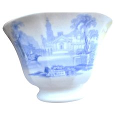 Circa 1880 soft past blue decorat small bowl or cup. dated on back