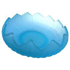 Vintage elegant depression opaque light blue scalloped 10 inch bowl