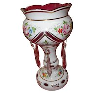 Circa 1899 Bohemian white cut to clear cranberry mantle prisms lusterware mantle