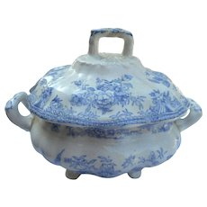 Circa 1900 blue transfer ware 2 handled covered dish