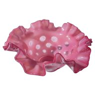 Elegant glass by Fenton glass pink opalescent hobnail 4 inch top hat