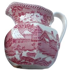 Fallow Deer  Wedgewood England pink transfer ware 5 inch pitcher