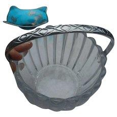 Vintage Heisey ice bucket with handle