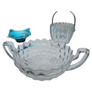 Elegant glass by Fostoria 2 handled trophy cup bowl in american pattern