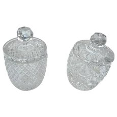 Two vintage cut glass condomint jars with lids