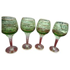 4 Vintage Bohemian green twisted stem 7 inch wine goblets golf floral decorated