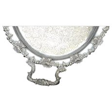 Large 26 inch  made in England 2 handled silverplate tray