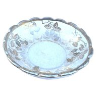 Vintage sterling overlay 2 handled candy dish