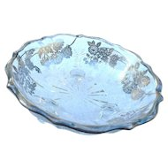 Vintage round sterling overlay 3 toed 6 1/2 inch bowl