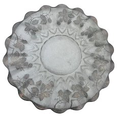 Large Vintage 13 inches across sterling silver overlay  floral platter