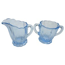 Vintage glass by Cambridge Glass blue caprice sugar and creamer
