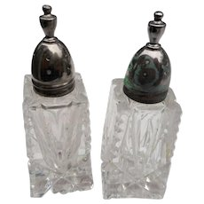 Vintage cut glass salt and pepper shakers 3 1/4 inches tall