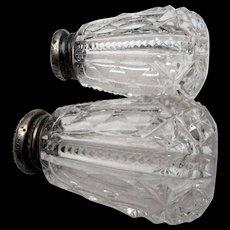 Pair of vintage crystal salt and pepper shakers