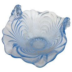 Vintage Cambridge glass blue caprice curved up bowl