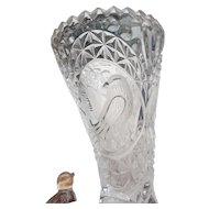Circa 1930 pressed glass 6 inc vase cornicopia with bird on one of three feet