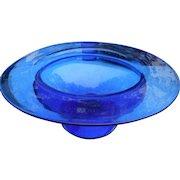 Large vintage cobalt top hat center footed bowl