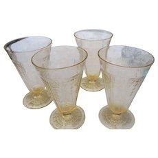 4 Vintage elegant glass by Abchor Hocking Princess footed tumblers