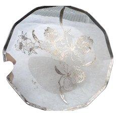 Vintage elegant glass sterling overlay 9 inch plate
