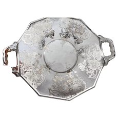 Vintage Elegant sterling overlay 2 handled 7 inch plate