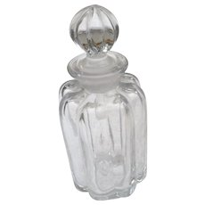 Vintage ribbed glass perfume with stopper