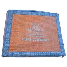Vintage Queens luxury 24 piece coffee set in original box