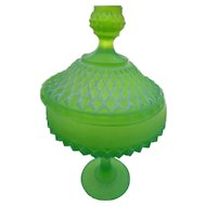 Vintage Indiana glass co green satin covered candy dis 12 inches tall
