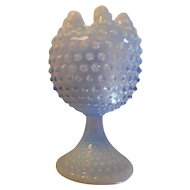 Vintage blue opalescent hobnail footed crimped top 7 inch vase