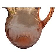 Vintage elegant glass by Jeanette glass in pink homespun  1/2 inchch water pitcher