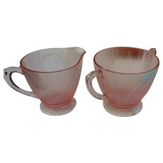 Vintage Jeanette glass pink homespun sugar and creamer