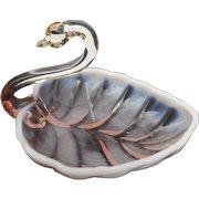 Vintage Duncan and Miller pink opalescent 6 inch swan nut dish