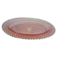 Vintage elegant glass by jeanette in pink oval dish