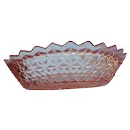 Vintage glass by Jeanette Glass Company Miss America pattern oval dish