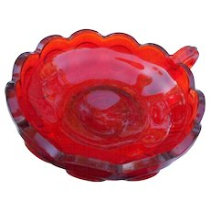 Vintage Fostory  Glass ruby red coin knappy