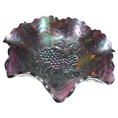 Vintage amethyst carnival glass 10 inch bowl grape pattern rippled top
