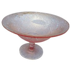 Vintage elegant pink crackle glass elevated bowl