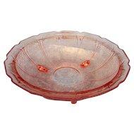 Vintage elegant pink 3 toed floral pattern 10 inch bowl