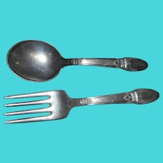 Vintage william rogers 1847 silverplate in the first love  pattern baby spoon and fork.