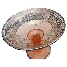 Elegant Vintage sterling silver overlay pink glass comport