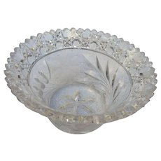 Circa 1890 American brilliant period cut and etched round candy dish
