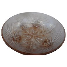 Vintage pink elegant frosted thistle pattern glass 4 footed bowl
