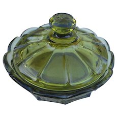 Vintage elegant green covered candy dish