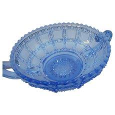 Vintage  Elegant light blue 2 handled beaded pressed glass dish