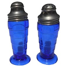 Pair of vintage cobalt salt and pepper shaker 4 inches  tall