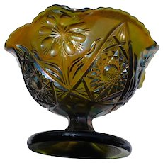 Vintage carnival glass by imperial glass gold opalescent footed  bowl