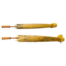 Two vintage Oriental bamboo paper 23 inch umbrellas