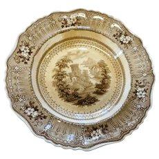 Circa 1890 soft paste brown transer ware 10 1/2 inch bowl co;ogne