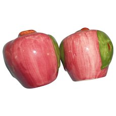 Pair of vintage apple style salt and pepper shakers