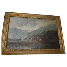 Circa 1890 oil on canvas depicting mountain and lake scene
