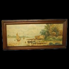 Circa 1900 framed watercolor cottage on lake scene