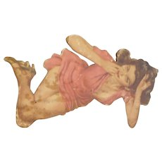 Circa 1940 pin up girl mounted on board 15 inches tall